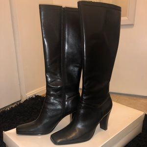 Nine West black leather boots, lightly worn.